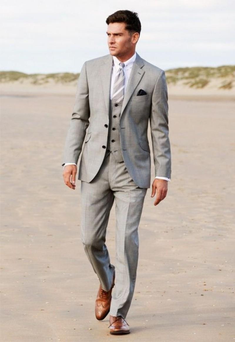 Grey Groom Tuxedos Best Man Slim Suit Formal Wedding Party Evening Men Suits Groomsman/Men Suits (Jacket+Pants+Vest)