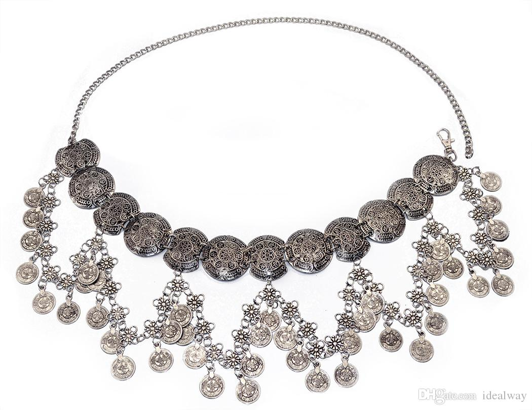 عتيقة الطراز التركية الغجر سبائك الفضة مطلي نحت زهرة عملة الجسم البطن سلسلة الخصر نساء مجوهرات