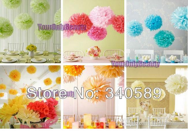 "Buy 10pcs get 10pcs Free--20 Colors 25cm (10"") Tissue Paper Pom Poms Wedding Party Decor Flower Balls For For Baby Shower Favors Decor"