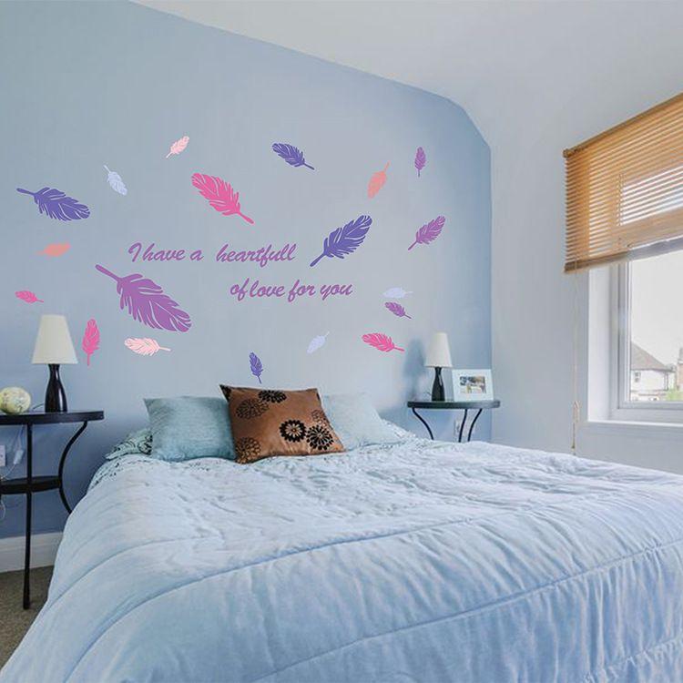 Nouveau Design Plume Volante Salon Sticker Mural Décor À La Maison Adesivo de parede Décoration de La Maison Papier Peint Sticker Mural Couples Amour Citation