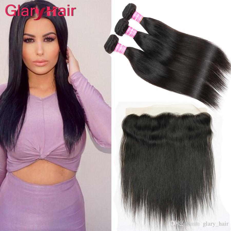 I capelli vergini brasiliani diritte non trattate più venduti con 13x4 pizzo frontale chiusura remy trame di capelli umani tesse chiusura all'ingrosso