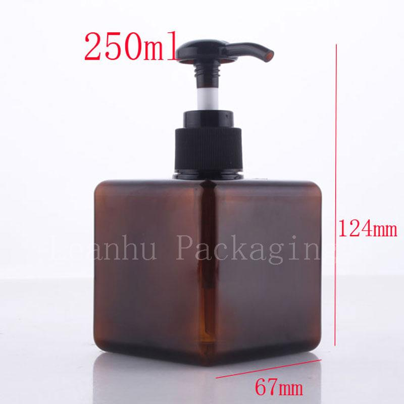 250ml X 12 brown square press pump crema loción botellas de plástico, botella de la bomba de champú, 8.5oz gel de ducha botellas envase