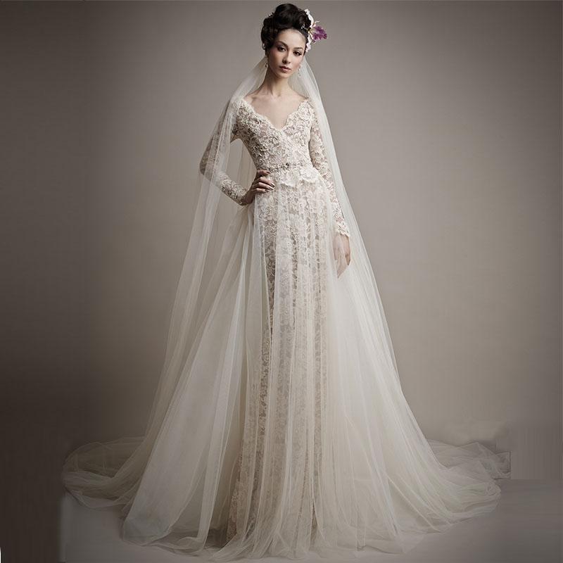 Stunning 2016 Design Lace Inside A-line Abito da sposa Attraente Open Back robe de mariage maniche lunghe