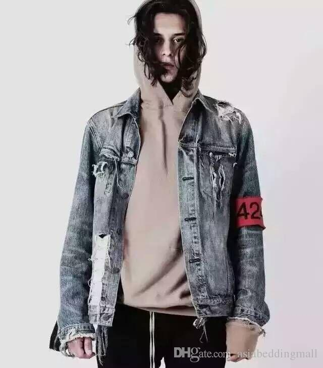 TOP Spot red armband four two four 424 ripped hole distressed lt blue denim jacket streetwear urban clothing