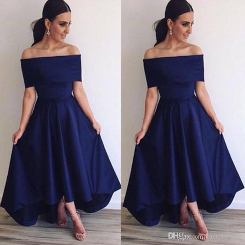 4e24720aa729 2016 Royal Blue Off Shoulder Bridesmaid Dresses A Line Backless Hi Lo Style  Simple Prom Dresses Formal Evening Party Gowns BA3692 Bridesmaid Beach  Dresses ...