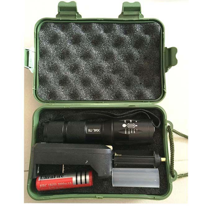 G700 E17 كري XML T6 عالية الطاقة الصمام المشاعل زوومابلي التكتيكية الصمام مشاعل ضوء الشعلة +1 18650 بطارية + شاحن + صندوق أخضر