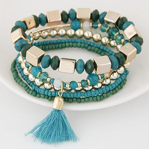 High End Bohemia Ethnic Fashion Jewelry Vintage Retro Bead Tassel Wrist Accessories Statement Wrap Multilayer Bracelets Bangles For Women