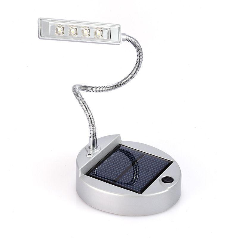 Super Bright 4 LED Rechargeable Solar Desk Lamp USB Book Light Laptop Reading Light Flexible Gooseneck Design Camping Portable Lamp Light