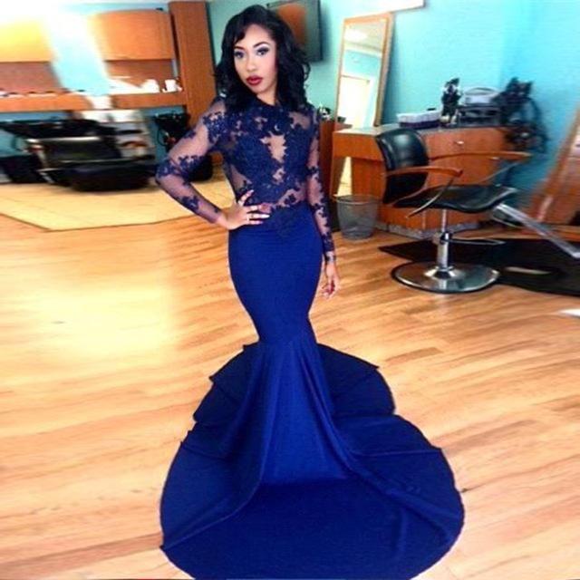 2020 Mermaid New mangas compridas Lace apliques Formal Illusion Royal Blue Vestido Prom Long Neck Bainha Partido Modern Vestido Vestidos