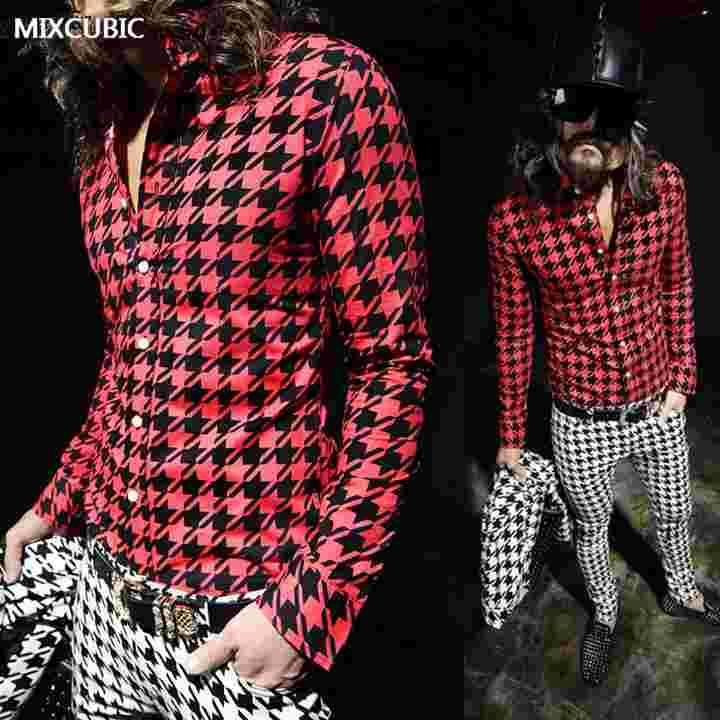 Gros- MIXCUBIC printemps style styliste Angleterre grille Houndstooth shirts imprimés Hommes Chemises rouges imprimés minces casual pour les hommes M-XXL