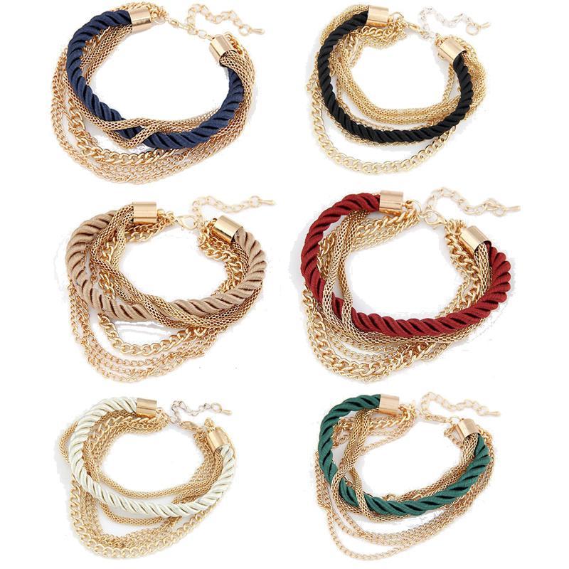 6 Farben Frauen Armband Weave Ketten Handgemachte Legierung Bezaubert Armbänder Armbänder für Mode Mädchen Frauen Zubehör