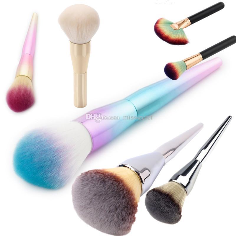Rainbow Handle Foundation Single Brush Concealer Powder Blusher woman Brush Cosmetic Single Universal Brush fashion Makeup Brushes