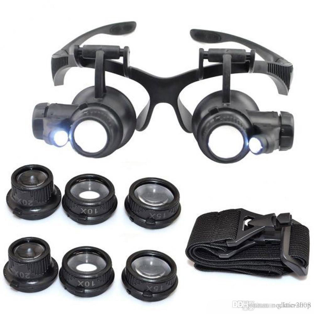 Chaud 10x 15x 20x Loupe 25x Loupe double LED lumières Lunettes de lunettes Lentille Loupe Loupe Bijouterie Watch Tools de réparation Glitter2008