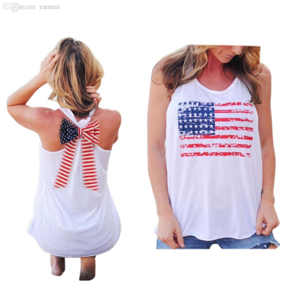 الجملة-صيف جديد مثير المرأة أكمام القمم الأمريكية usa العلم طباعة المشارب القوس عقدة تانك الأعلى للمرأة بلوزة سترة قميص س الرقبة y3