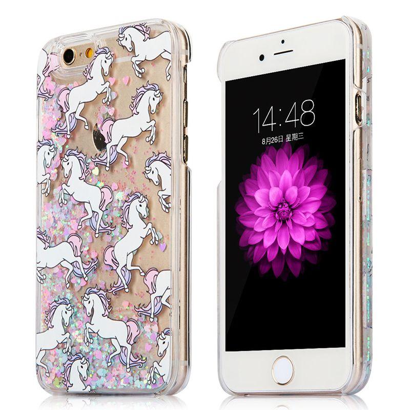 Cheval / chat paillettes liquide Quicksand Retour couverture pour iPhone 5 / 5S / SE / 6 / 6S Plus