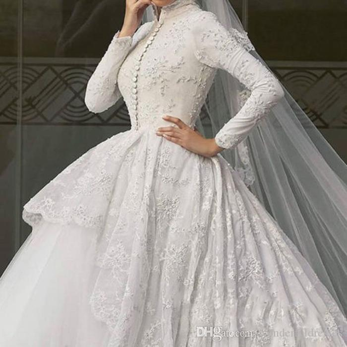 2016 Lace Muslim Wedding Dresses High Collar Long Sleeve Vintage ...