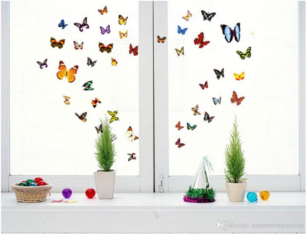 80 teile / satz Abnehmbare Bunte Schmetterling Wandkunst Aufkleber Wandbild Mädchen Room Decor