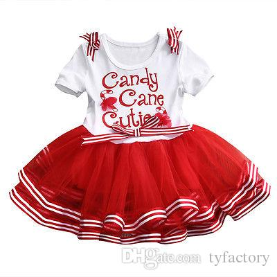 2018 Baby Girl christmas dress sweet princess vestidos candy cane cutie letter print Clothes best gift kids TUTU Party Tulle funny Dresses