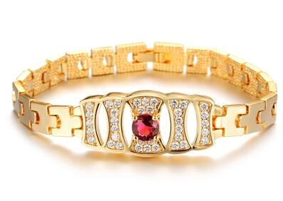 18k Gold Woman Crystals Bracelet Elegance Fashion Bride Lady Jewelry Free Shipping New Style Hot N428