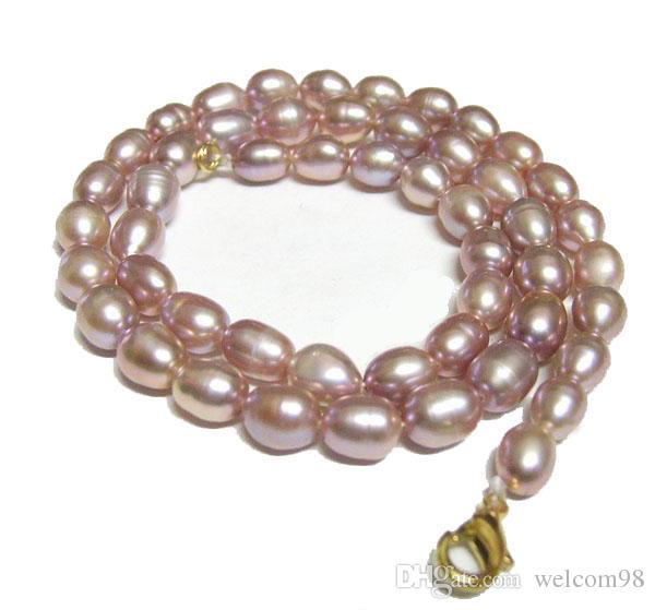 10 teile / los Lila Reis Süßwasser Perle Mode Halskette Hummerschließe 16 Zündstein Für DIY Craft Schmuck Geschenk P3 *