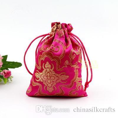 Günstige dünne Reiche Blumen-kleine Geschenk-Beutel Drawstring Silk Brocade Schmuck-Speicher-Beutel-Süßigkeit Teebeutel Spice Sachet Tuch Verpackung