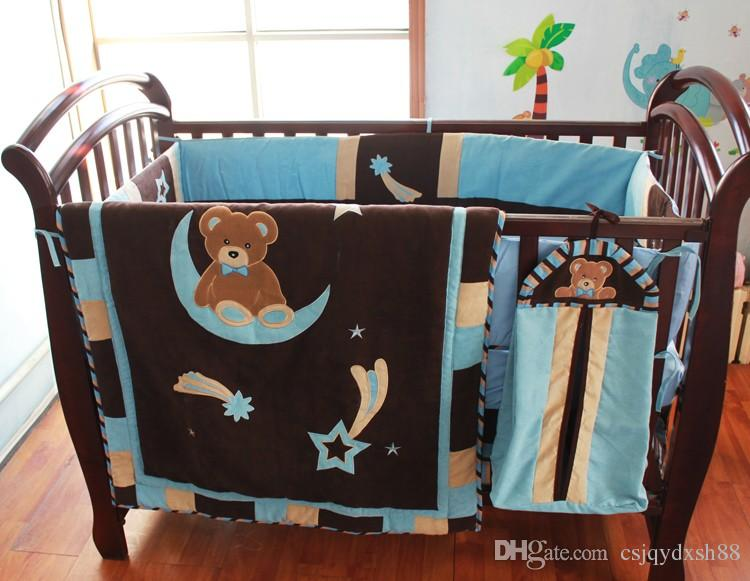 7Pcs Baby bedding set 100% cotton Cot bedding set Embroidery night sky Bear Sit in Bend moon Crib bedding set Skirt Fitted
