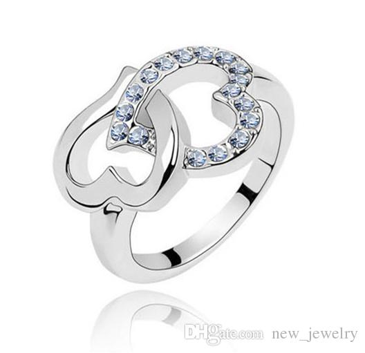 Mode-sieraden Groothandel Zuid-Korea Ol Star Double Heart Diamond Ring Knot CZ Crystal glanzende ringen