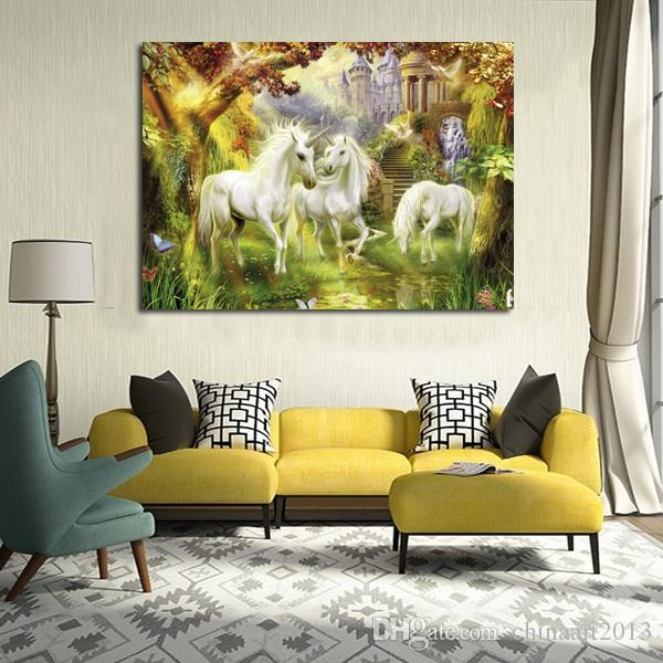 European impression abstract horse scenery canvas painting modern HD print painting home living room corridor wall decoration