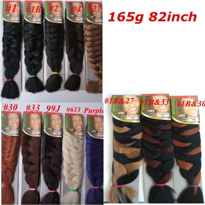 Xpression Synthetic Braiding Hair 82inch 165grams single color Premium Ultra Braid Kanekalon jumbo braid Hair Extensions