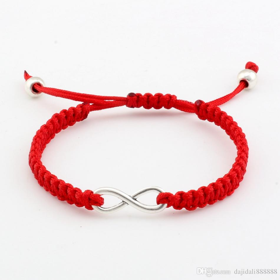 Hot ! 20pcs Antique silver Alloy Infinity Red Wax line Hand made Weave Adjustable Bracelet