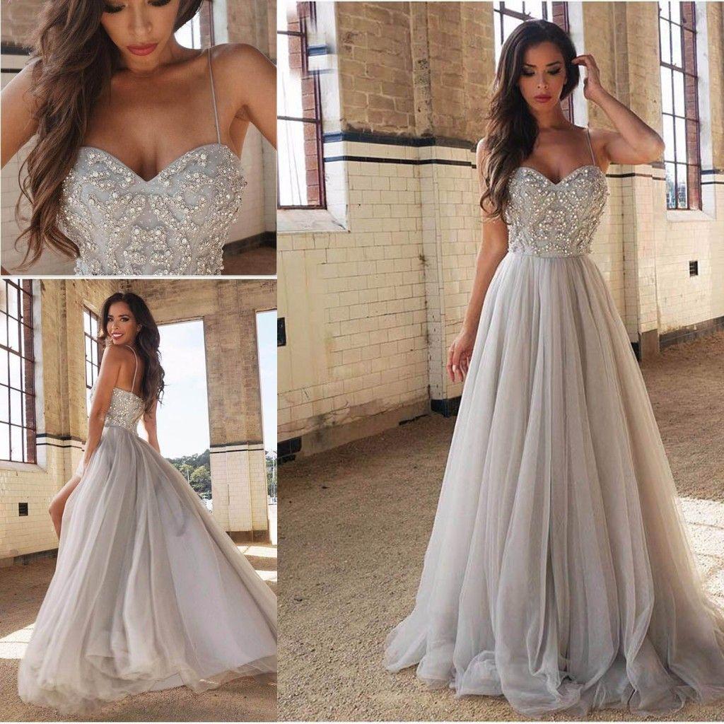 Long Prom Dresses Bling Bling Major Beading Crystal Sleeveless Spaghetti Straps Front Slit Evening Gowns 2019 Silver Tulle Dress
