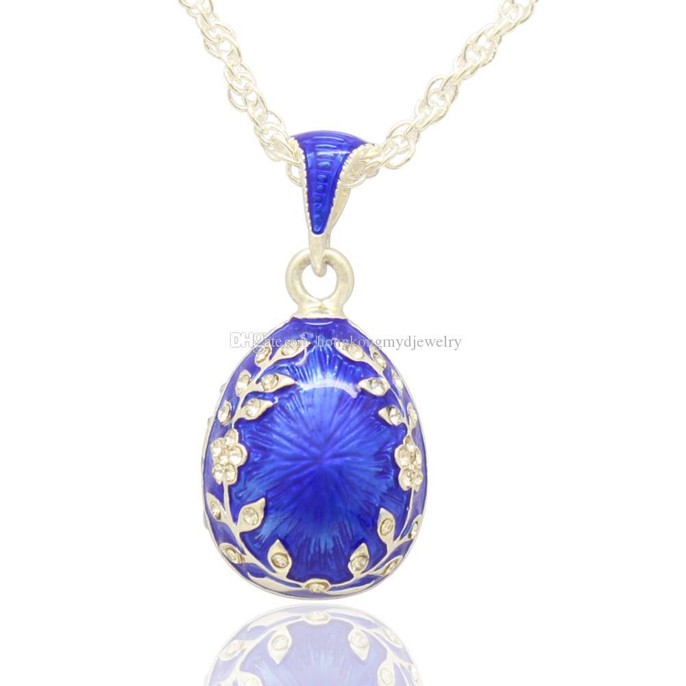 Faberge Egg Anhänger shunny kristall Leaf Flower Easter Egg für Halskette im russischen Stil mit versilberter Kette