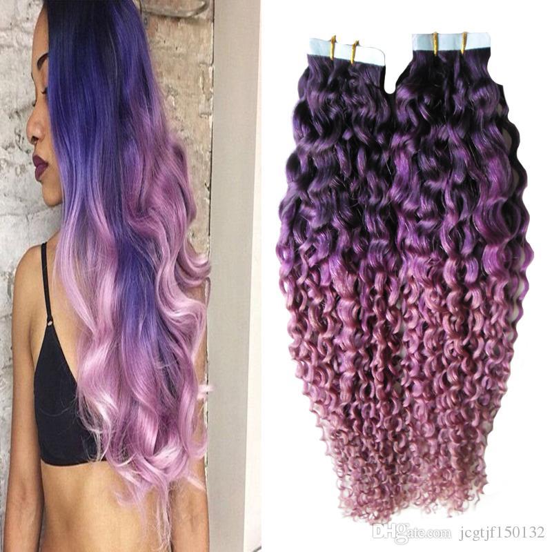 색상 보라색 / 핑크 ombre 브라질 머리 40pcs 인간의 머리카락 연장에 변태 곱슬 머리 버진 헤어 피부 Weft 100g 테이프