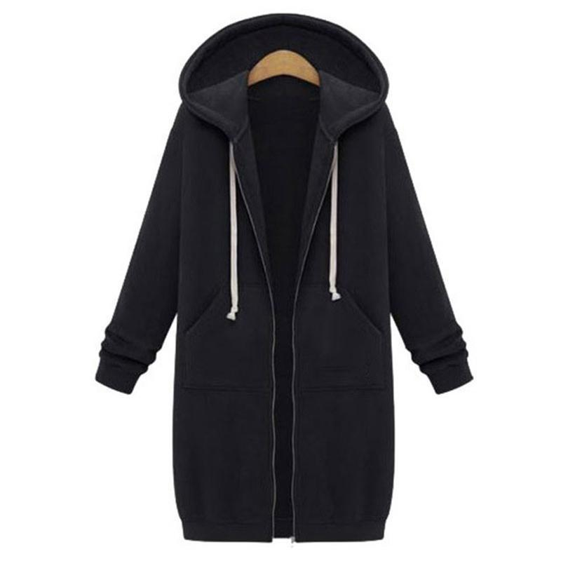 2018 Autumn Plus Size Womens Cardigan Long Hoodies Sweatshirt Hoody Coat Pockets Zip Up Outerwear Hoodies Clothes For Women Oversized Tops