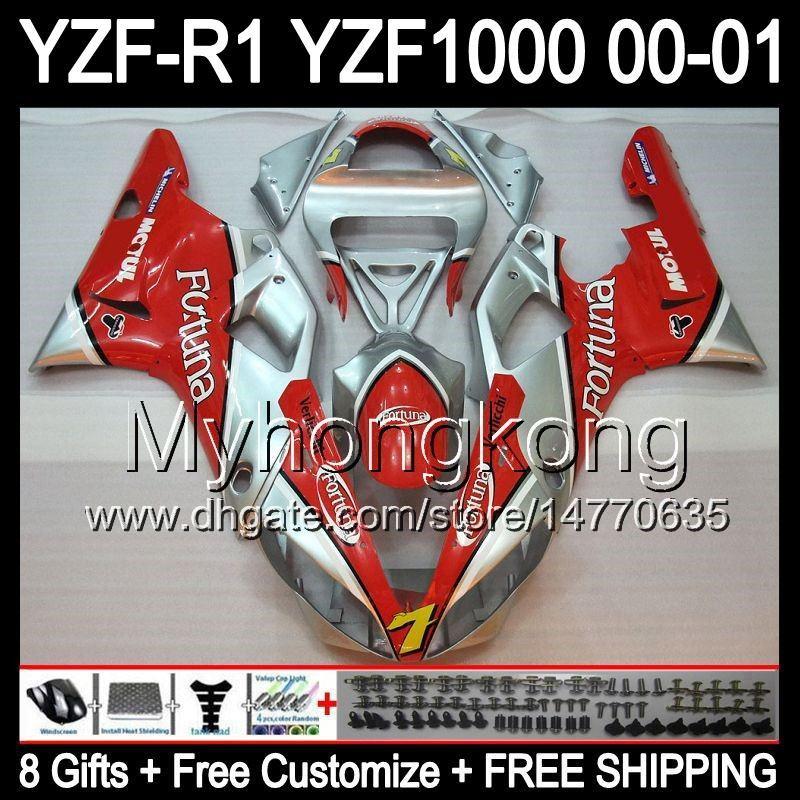 8Geschenke + Karosserie Für YAMAHA 00-01 Fortuna rot YZFR1 00 01 YZF1000 Y9966 YZF R1 YZF R 1 YZF 1000 YZF-R1 R1 Rot silber 2000 2001 Verkleidungskit