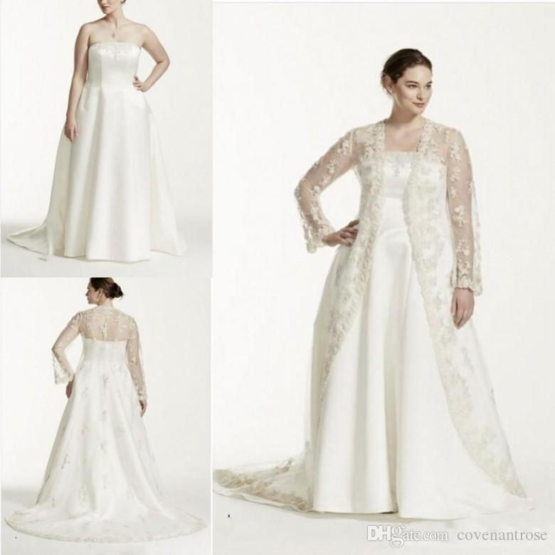 Discount Vintage Plus Size Wedding Dresses Strapless A Line Bridal Gowns  With Sheer Long Sleeve Lace Jacket Custom Made Two Pieces Wedding Dresses  ...