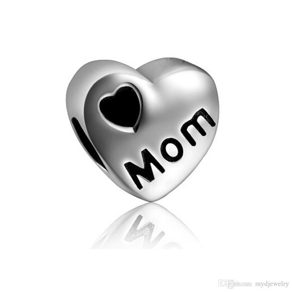 Bayanlar takı güzel siyah emaye kalp aşk anne anne Toptan 10 adet Avrupa boncuk big hole charms Pandora için bilezikler kolye