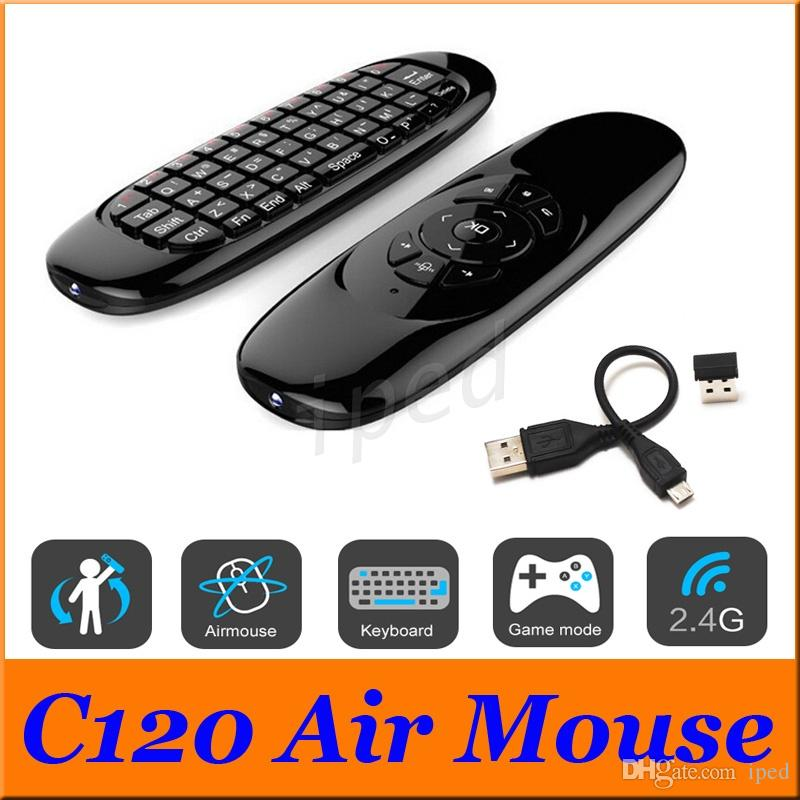 C120 Fly Air Mouse Mini Wireless QWERTY Keyboard Remote Control Game Controller For Android TV Set Top Box Mini PC 6 Gyroscope Q3 Free DHL 5
