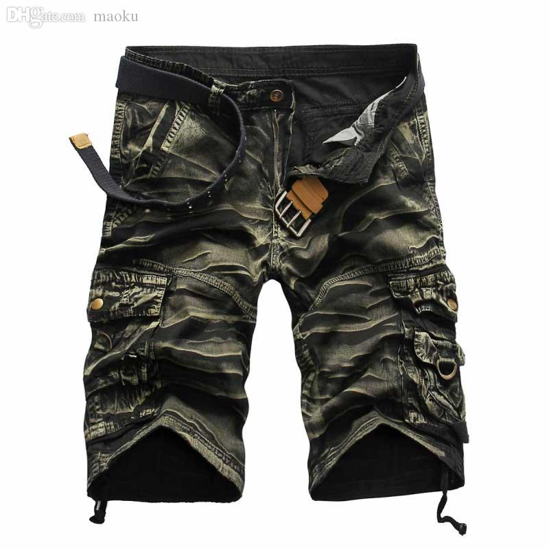 Wholesale-2016 New High Quality Men's Camouflage Casual Cargo Shorts  Camo Multi-Pocket Outdoor Shorts For Men Pantalones Hombre
