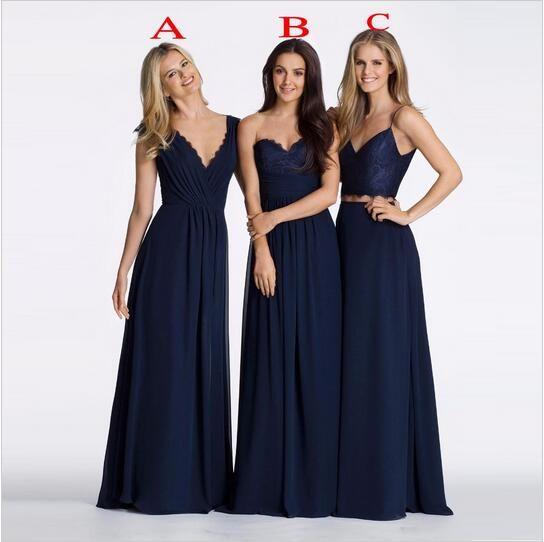 네이비 블루 시폰 섹시한 V 넥 3 스타일 들러리 롱 드레스 스트레이트 시폰 드레스 웨딩 파티 도매 양질 우편 뒤로
