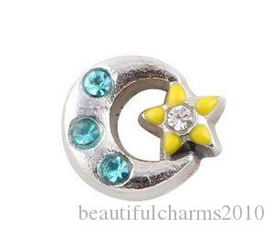 20PCS/lot Crystal Moon Star Floating Locket Charms Fit For Glass Magnetic Memory Floating Locket Pendant Jewelrys Making