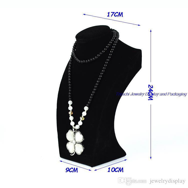 Free Shipping Retail Luxury Wooden Jewelry Display Mannequin Necklace Holder Bust Black Velvet Stand 24CM height