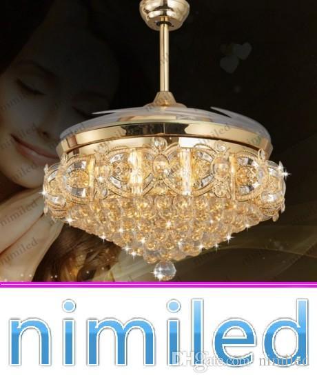 """nimi842 36 """"/ 42"""" / 52 """"lampada di cristallo invisibile soggiorno ventilatore a soffitto luci ristorante lampadario a led lampade a sospensione in oro telecomando"""