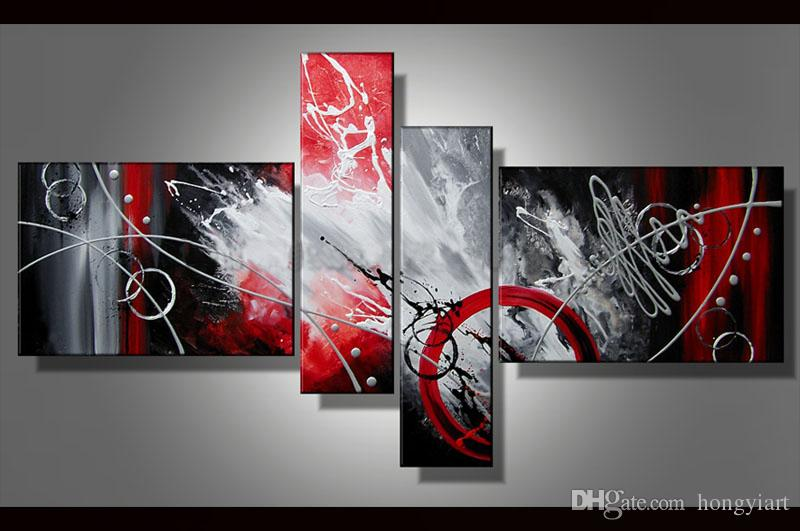 Contemporary Art Multiple 4 Pieces Sets Modern Abstract oil painting on Canvas Handpainted Modern Home Office Hotel Wall Art Decor Gift ab49