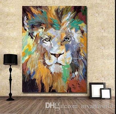 Çerçeveli renkli aslan, Boyama Modern Duvar Dekor Özet Hayvan Sanat Yağlıboya Saf El Yüksek Kalite Canvas.Multi Boyutları Mevcut moore20