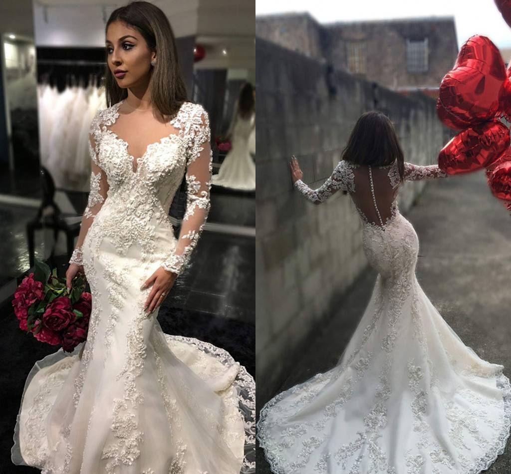 2017 New Sexy Mermaid Long Sleeves Mermaid Wedding Dresses Illusion Lace Appliques Court Train Autumn Winter Bridal Gowns vestido de noiva
