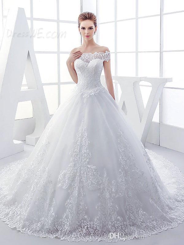 2021 Appliques di pizzo vintage fuori spalla abito da sposa in lace-up cappella treno arabo arabo abito da sposa abiti da sposa avorio bianco vestito su misura