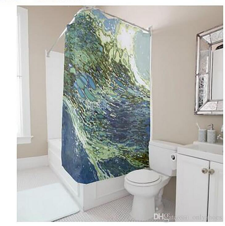 Customs 36/48/60/66/72/80 (W) x 72 (H) Inch Shower Curtain Blue Ocean Waterproof Polyester Fabric DIY Shower Curtain