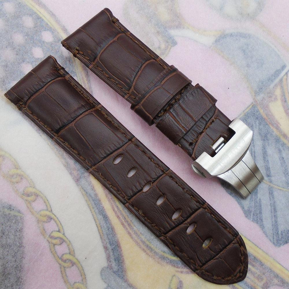 24mm 115 / 75mm luxus hohe qualität Braun Kalbslederband Butterfly Deployant Schnalle Für LUNMINOR RADIOMIR
