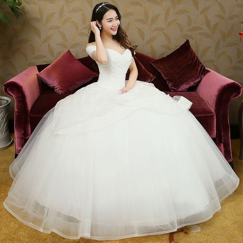 2016 New Korean Wedding Dress Neat Shoulder Slim Lace Collar V A - Korean Wedding Dress
